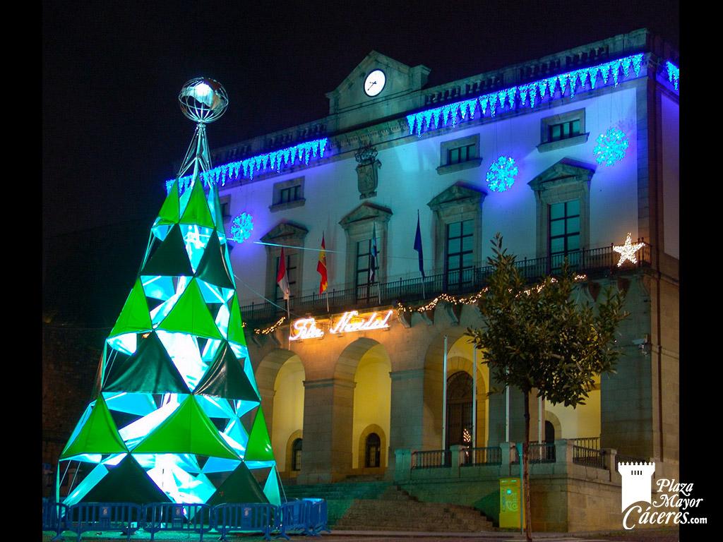 encendido luces navidad plaza mayor caceres tonos verdes